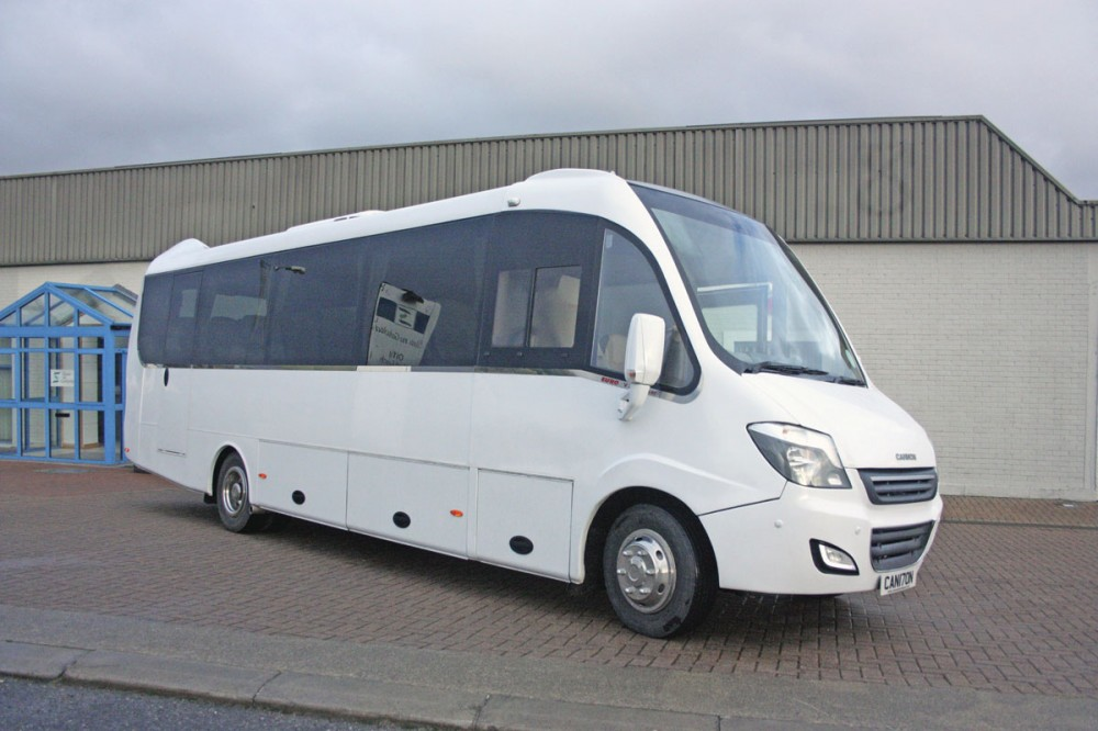 Large screen, quarter light and side window are characteristics of the front end design of the new Cannon Euro Variant Luxor Coach, Ireland