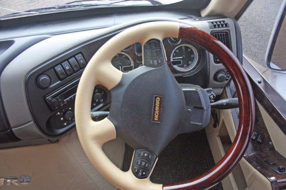 Multifunction steering wheel trimmed in leather and wood veneer - Cannon Euro Variant Luxor Coach, Ireland