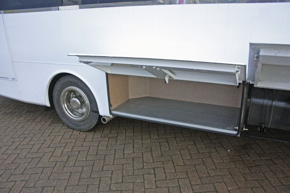 Underfloor luggage lockers are provided on both sides of the vehicle -  Cannon Euro Variant Luxor Coach, Ireland